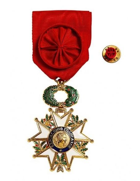 Croix de Chevalier de l'Ordre de la Légion d'Honneur Officier en bronze doré. Fixe ruban en option.