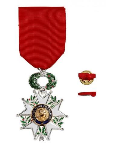 Croix de Chevalier de l'Ordre de la Légion d'Honneur Chevalier en bronze Argenté. Fixe ruban hommes ou femmes en option.
