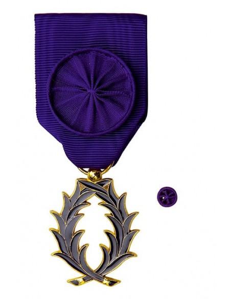 Officier de l'Ordre des Palmes Académique en bonze doré(grade Réduction). Rosette en option.