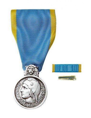 Médaille d'Honneur de la Jeunesse et des Sports, échelon Argent en bronze argenté. Fixe ruban et barrette dixmude en option.