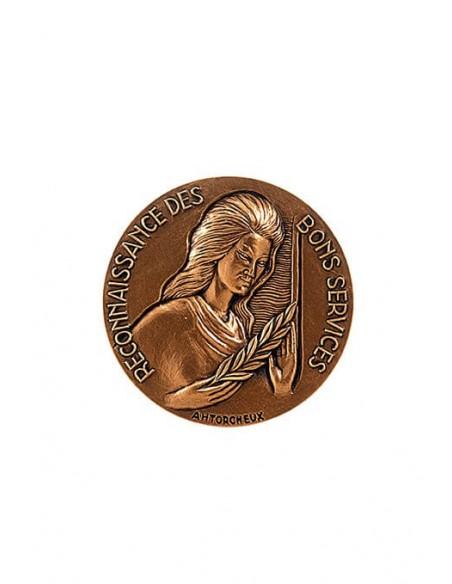 Médaille Bronze Reconnaissance des Bons Services en bronze doré.