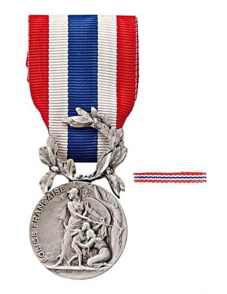 Médaille d'Honneur de la Police Nationale en bronze argenté. Fixe ruban en option.