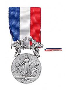 Médaille d'Honneur pour Actes de Courage et de Dévouement Argent en bronze argenté. Fixe ruban en option. La Médaille Argent 2èm