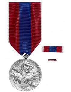 Médaille Défense Nationale Argent en bronze argenté. Fixe ruban et barrette dixmude en option La Médaille Défense Nationale Arge