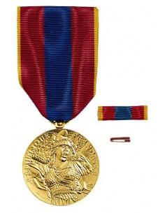Médaille Défense Nationale Vermeil en bronze doré. Fixe ruban et barrette dixmude en option La Médaille Défense Nationale Vermei