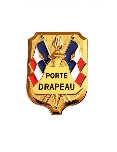 Insigne Porte Drapeau grand modèle en bronze doré. Dimensions : 5.4 x 4 cm
