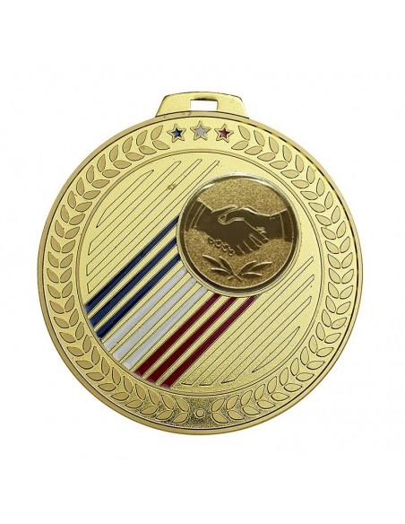 Médaille laiton ø70mm Or, Argent et Bronze / Bleu / Blanc / Rouge