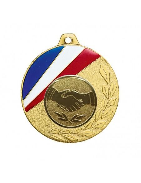 Médaille zamak ø50mm Or, Argent et Bronze / Bleu / Blanc / Rouge