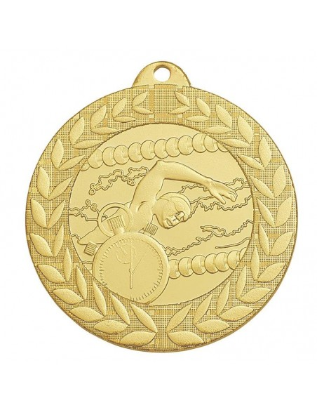 Médaille estampée fer Natation 50mm Or, Argent et Bronze