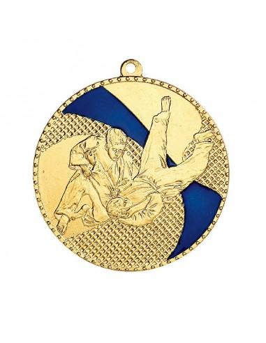 Médaille estampée fer Judo 50mm Or, Argent et Bronze / Bleu