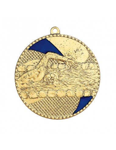 Médaille estampée fer Natation 50mm Or, Argent et Bronze / Bleu