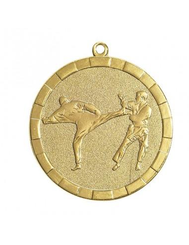 Médaille estampée fer Karaté 50mm Or