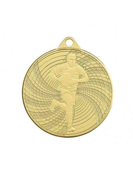 Médaille estampée fer Rugby 50mm Or