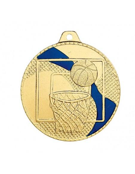 Médaille estampée fer Basket 50mm Or