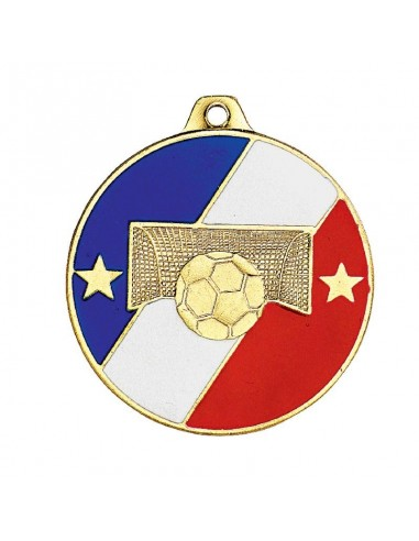Médaille estampée fer Football 50mm Or / bleu/blanc/rouge