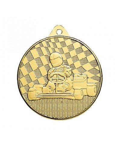 Médaille estampée fer Karting 50mm Or, Argent et Bronze