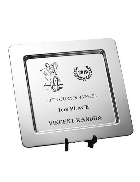 Trophée plateau métal - Dimension (cm) : 31 x 31