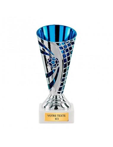 Trophée plastique foot argent/bleu 14cm - Vendu par lot de 12