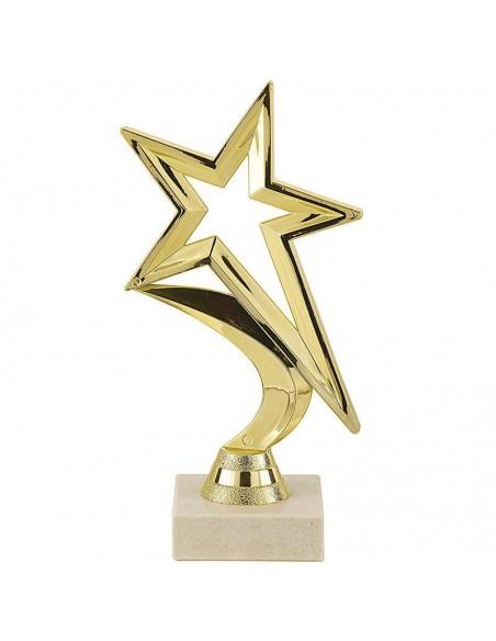Trophée plastique étoile or hauteur 19cm
