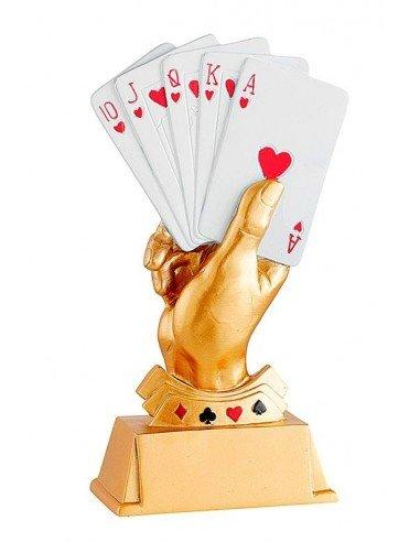 Trophée résine carte à jouer hauteur 20cm