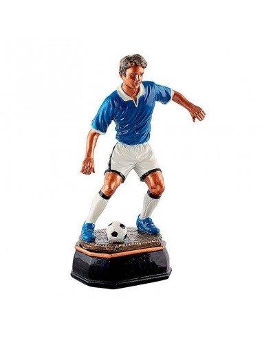Trophée résine foot 3d bleu hauteur 33cm