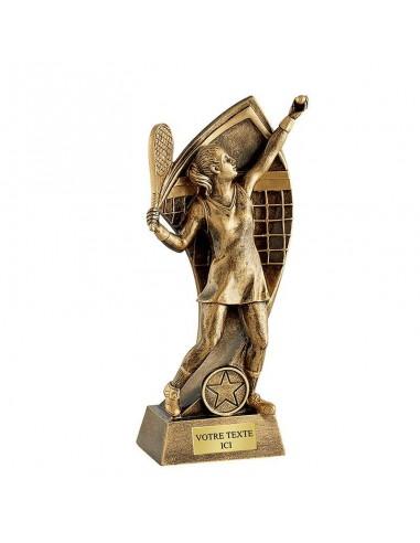 Trophée résine tennis féminin hauteur 22cm
