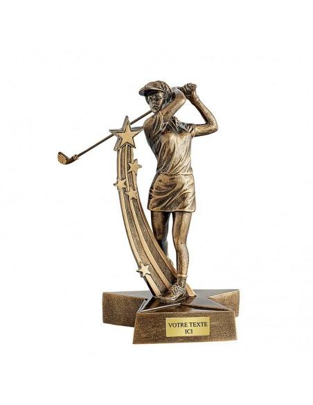 Trophée résine golf féminin hauteur 21cm