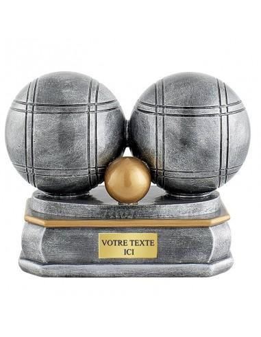 Trophée résine boule pétanque 15x13cm