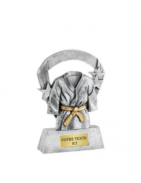 Trophée résine Kimono Argent hauteur 16cm