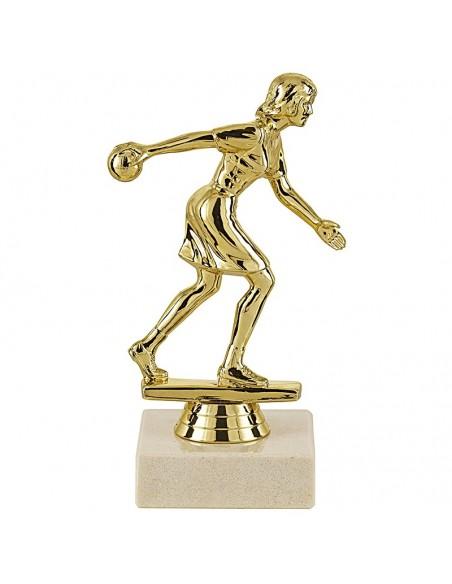 Trophée sujet plastique bowling féminin or hauteur 14cm