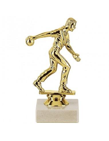 Trophée sujet plastique or bowling homme hauteur 14cm