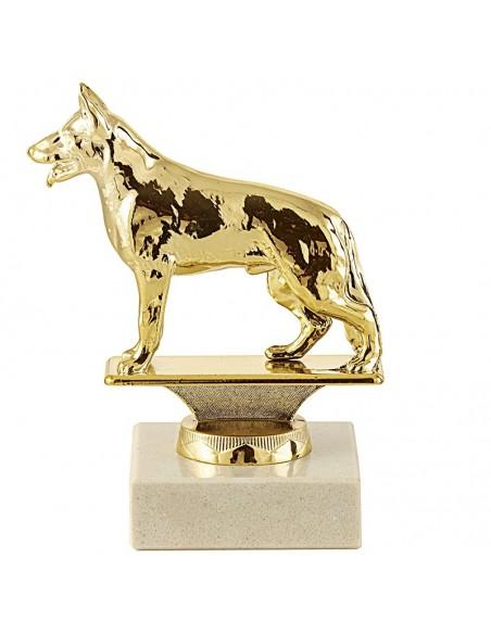 Trophée sujet métal or chien hauteur 11cm