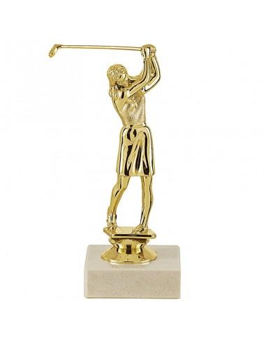 Trophée sujet plastique or golf femme hauteur 15cm