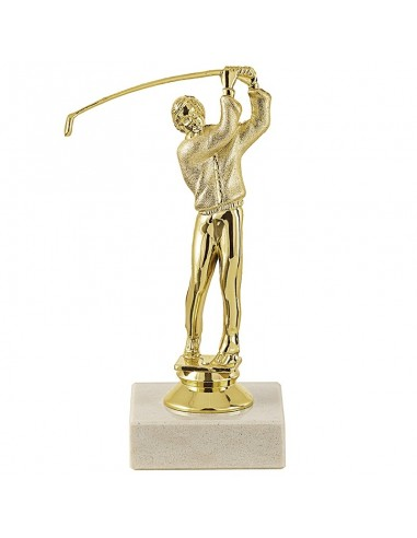 Trophée sujet plastique or golf masculin hauteur 15cm