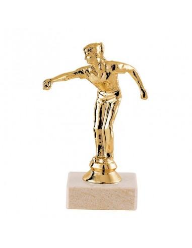 Trophée sujet plastique or pétanque féminin hauteur 13cm