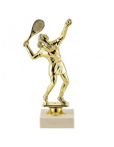 Trophée sujet plastique or tennis femme hauteur 18cm