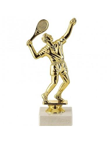 Trophée sujet plastique or tennis homme hauteur 18cm
