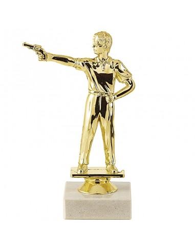 Trophée sujet plastique or tir pistolet hauteur 17cm