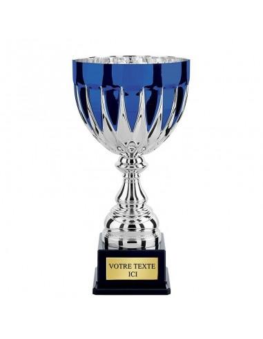 Coupe Argent / Bleu hauteur 29cm Ø140mm