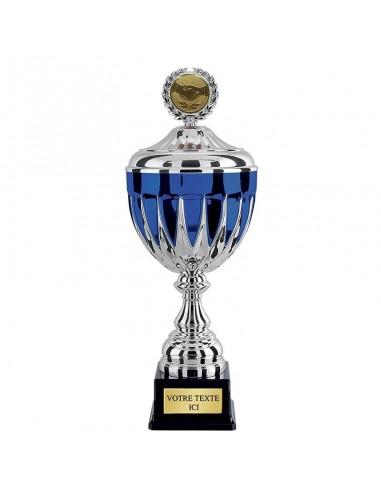 Coupe avec couvercle Argent / Bleu hauteur 38cm Ø120mm