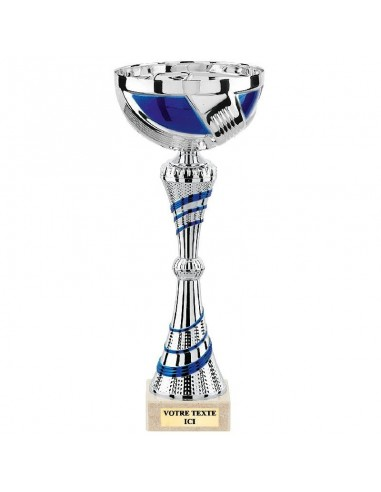 Coupe Argent/Bleu hauteur 32cm bol Ø120mm