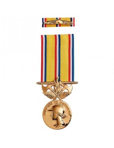 Médaille d'ancienneté des Sapeurs Pompiers 40 ans en zamac doré. Barrette dixmude en option.