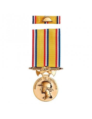 Médaille d'ancienneté des Sapeurs Pompiers 30 ans en zamak doré. Rosette et barrette dixmude en option.