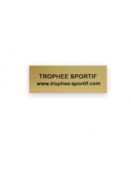 Etiquette souple adhésive format 60x22mm fond or. Impression sur étiquettes souples / fond or / Marquage noir. Marquage identique : quantité 20 minimum