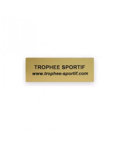 Etiquette souple adhésive format 50x22mm fond or. Impression sur étiquettes souples / fond or / Marquage noir. Marquage identique : quantité 20 minimum